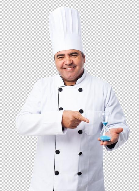 Retrato, de, um, cozinheiro, homem, mostrando, seu, temporizador areia Psd Premium