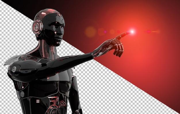 Robô inteligente preto e vermelho, apontando a renderização 3d de dedo corta a imagem Psd Premium