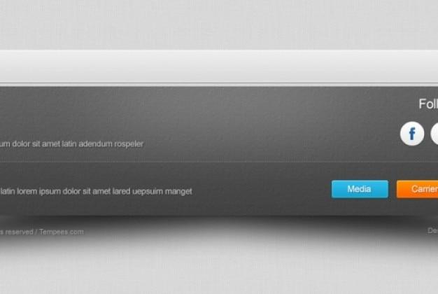 Rodapé de página web com texturas Psd grátis