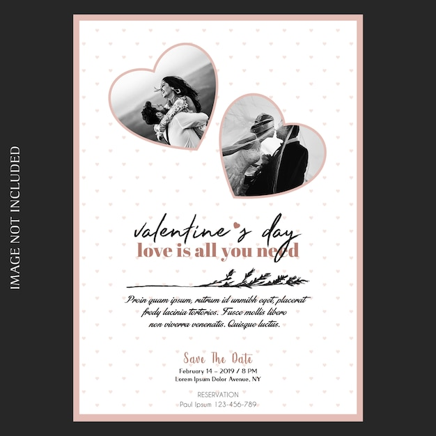 Romântico, criativo, moderno e básico dia dos namorados convite, cartão e foto mockup Psd Premium