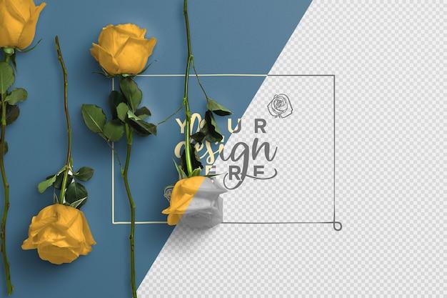 Rosas na maquete de fundo da haste Psd grátis