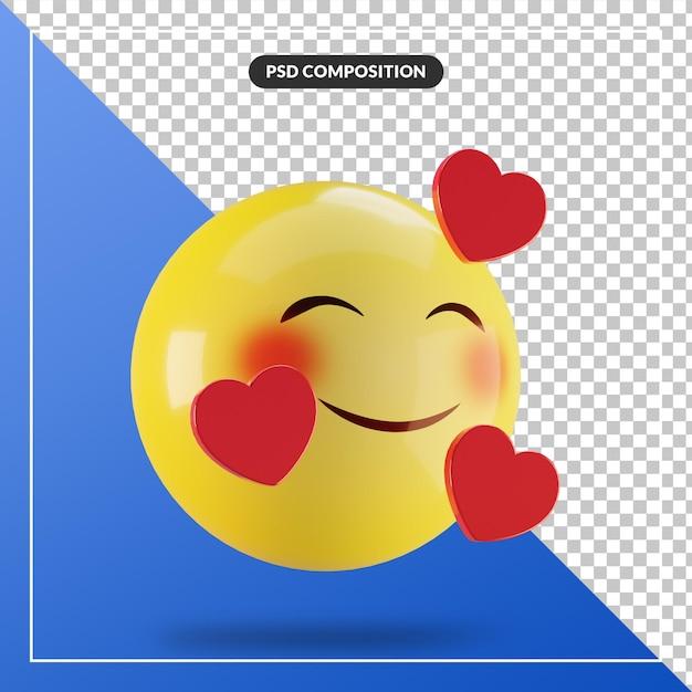 Rosto sorridente de emoji 3d com coração isolado para composição de mídia social Psd Premium