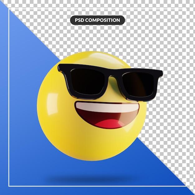 Rosto sorridente de emoji 3d com óculos de sol isolados para composição de mídia social Psd Premium