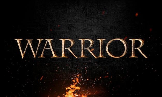 Rotulação de guerreiro abstrata com efeito grunge & metal em fogo Psd Premium