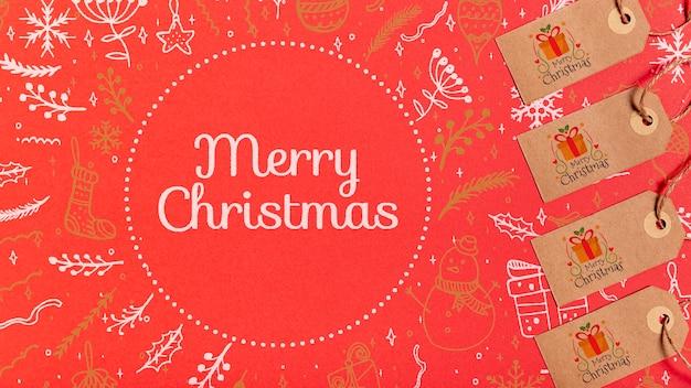 Rótulos de feliz natal com fundo festivo tradicional Psd grátis