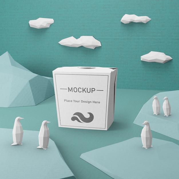 Saco de papel kraft com conceito de mock-up Psd grátis