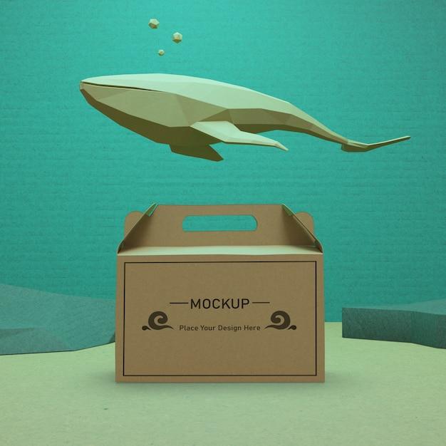 Saco de papel kraft debaixo d'água para o dia do oceano Psd grátis