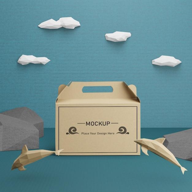 Saco de papel kraft para o dia do oceano com mock-up Psd grátis