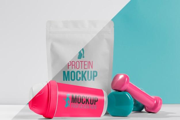 Saco de proteína em pó e pesos Psd grátis