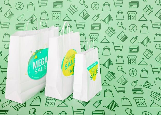 Sacos de compras no espaço da cópia da campanha promocional Psd grátis