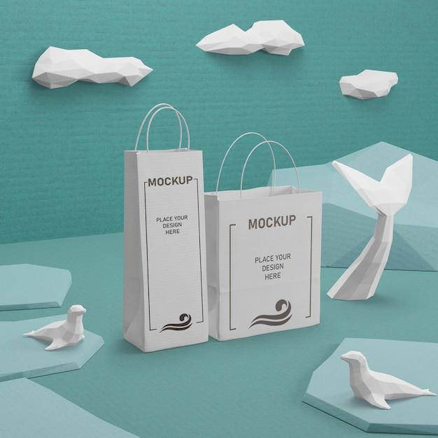Sacos de papel do dia do oceano com maquete Psd Premium