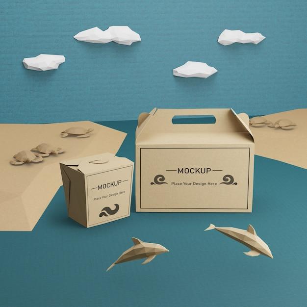 Sacos de papel kraft para o dia do oceano com mock-up Psd grátis