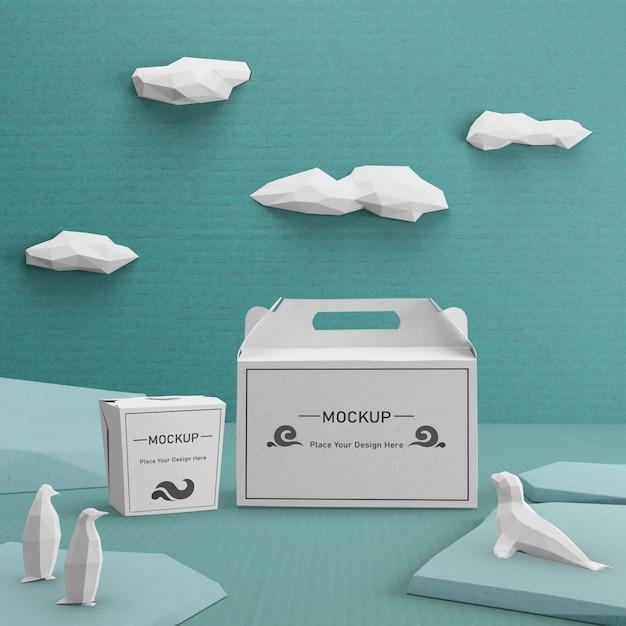 Sacos de papel sustentável para o conceito de dia do oceano Psd grátis