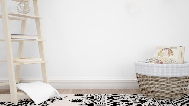Sala com elementos decorativos e parede branca com copyspace Psd grátis