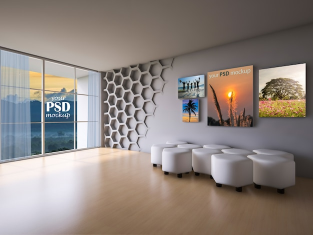 Sala de estar de design de interiores com maquete de quadro e vista maquete Psd Premium