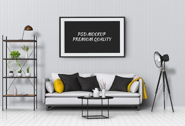 Sala de estar interior com poster em branco aparador e maquete. Psd Premium