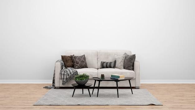 Sala de estar mínima com sofá e carpete clássicos, idéias de design de interiores Psd grátis