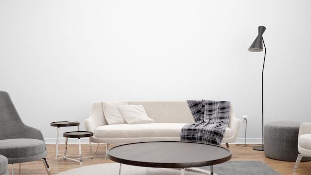 Sala de estar mínima com sofá e mesa central, idéias de design de interiores Psd grátis