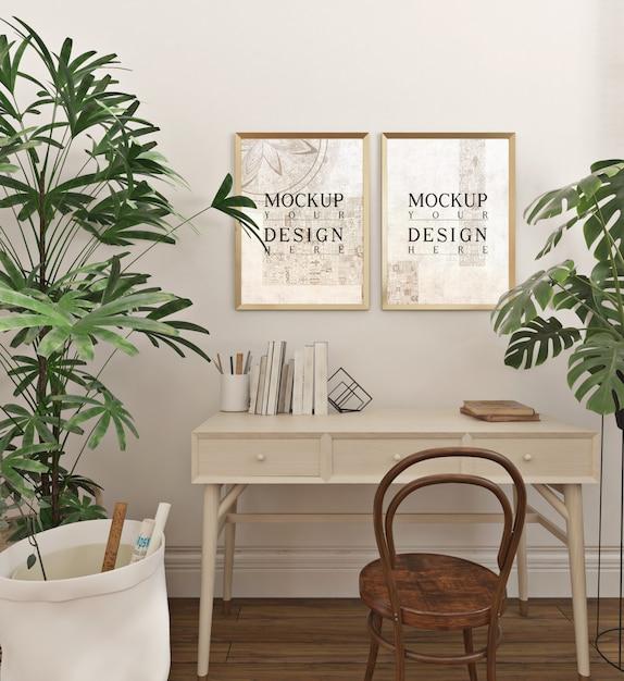 Sala de estudo moderna e simples com molduras de maquete Psd Premium