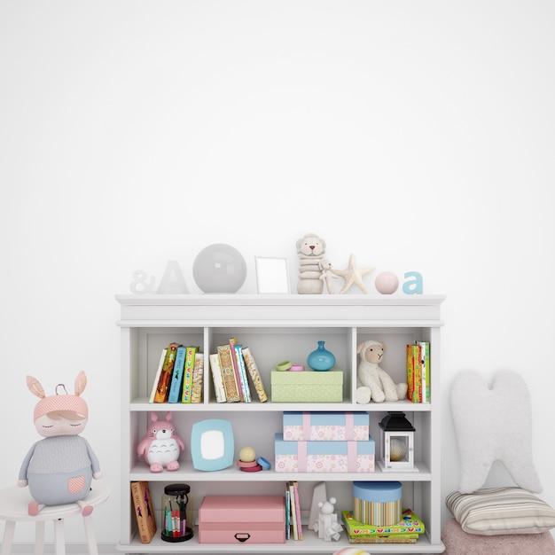 Sala de jogos para crianças com estantes e muitos brinquedos Psd grátis
