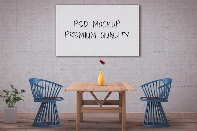 Sala interior do cartaz vazio da maquete da sala de jantar mínima do estilo. 3d render Psd Premium