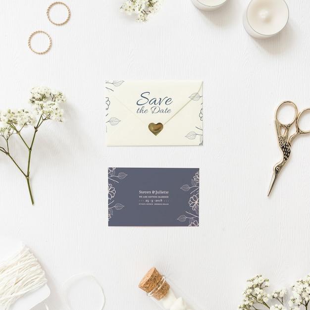 Salvar o maquete do cartão de data Psd grátis