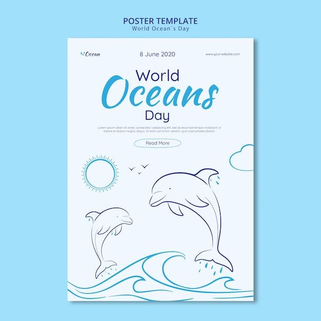 Salvar o modelo de cartaz do mundo subaquático Psd grátis