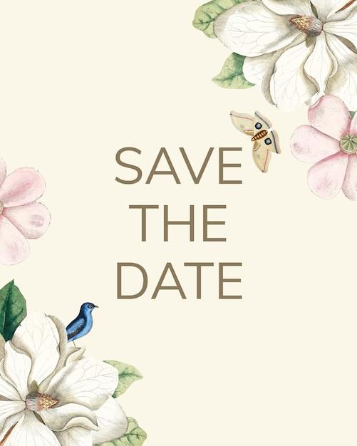 Salve o cartão de maquete de convite de casamento de data Psd grátis
