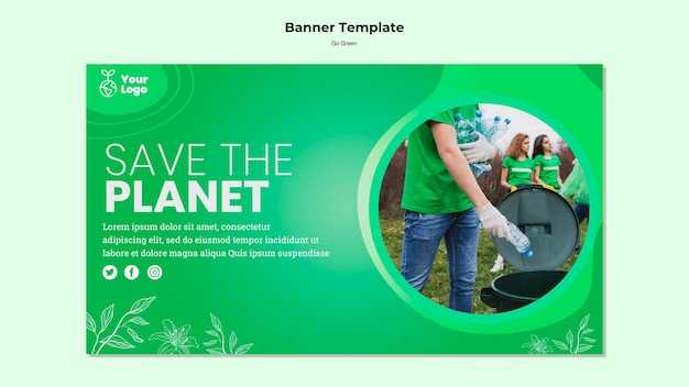 Salve o modelo de banner do planeta Psd grátis