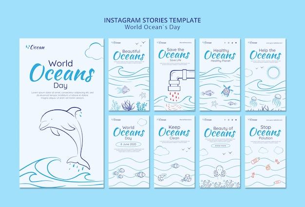 Salve o mundo subaquático instagram stories Psd grátis
