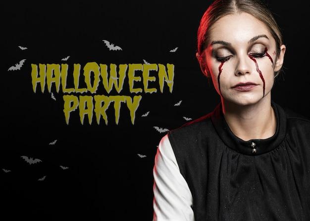 Sangue chorando de mulher com os olhos fechados maquiagem para o halloween Psd grátis