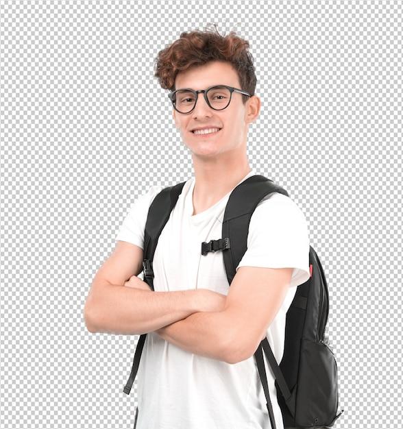 Satisfeito jovem estudante posando Psd Premium