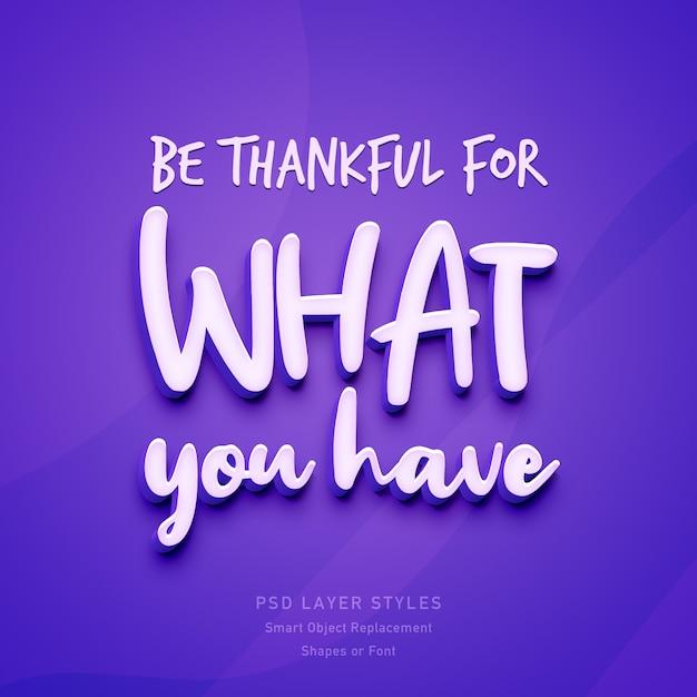 Seja grato pelo que você tem citações inspiradoras Psd Premium