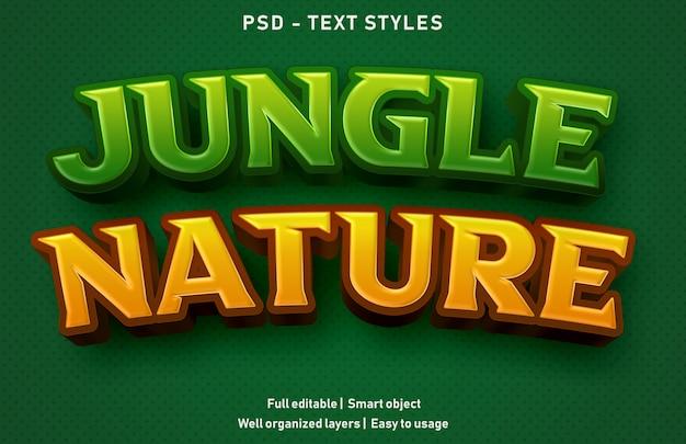 Selva natureza efeitos de texto estilo premium editável Psd Premium