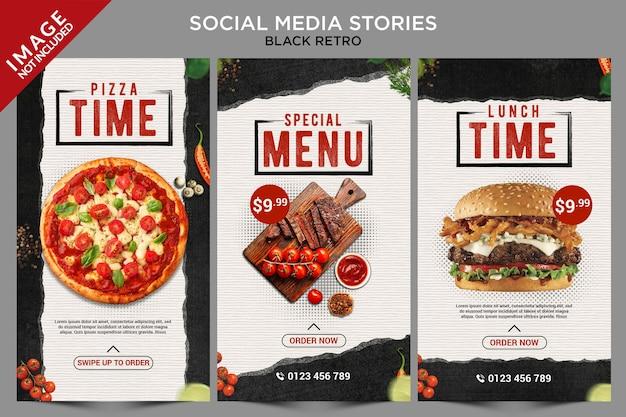 Série black retro de histórias de mídia social Psd Premium