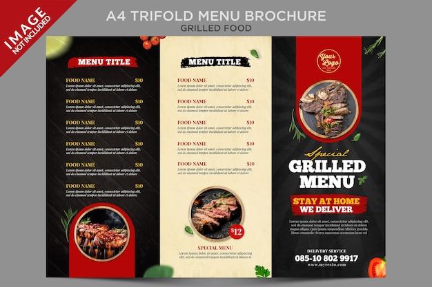 Série de brochuras com menu triplo de alimentos grelhados a4 Psd Premium