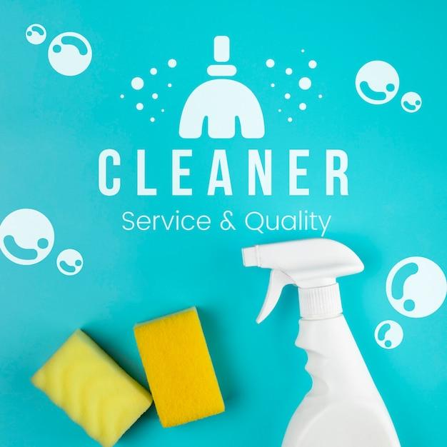 Serviço mais limpo e esponja e spray de qualidade Psd grátis