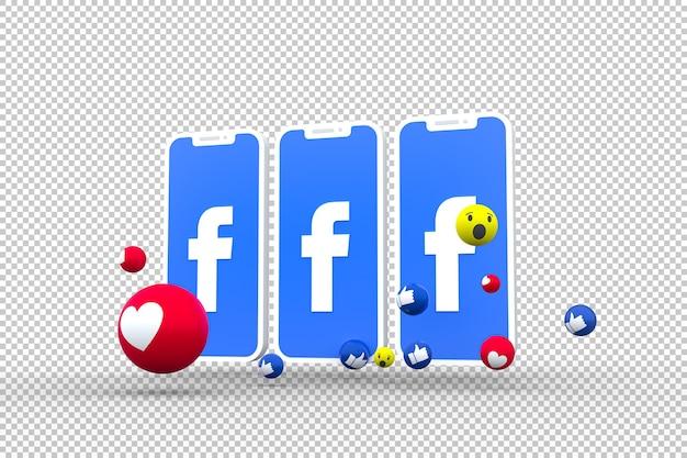 Símbolo do facebook na tela do smartphone ou celular e reações do facebook Psd Premium