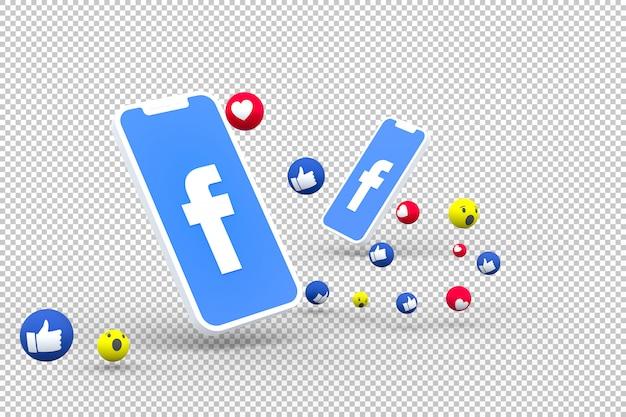 Símbolo do facebook na tela smartphone ou celular e reações no facebook amor, uau, como emoji render 3d Psd Premium