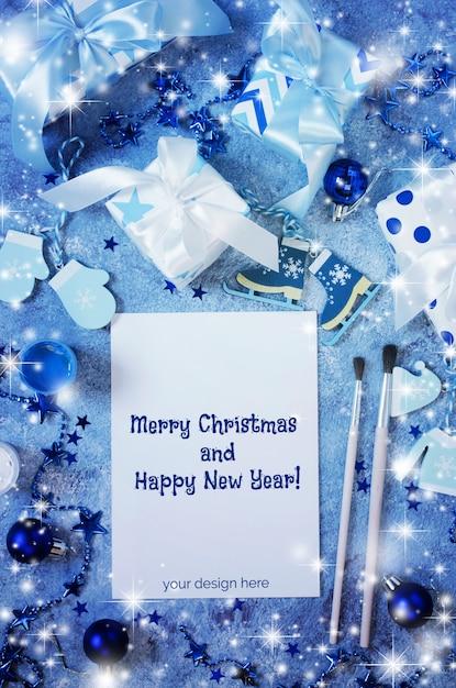 Simulação de natal para cartão ou carta para o papai noel na cor azul. Psd Premium