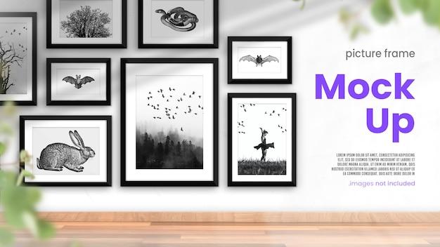 Simulação de porta-retratos de uma coleção de molduras para fotos em um interior moderno e luminoso Psd Premium