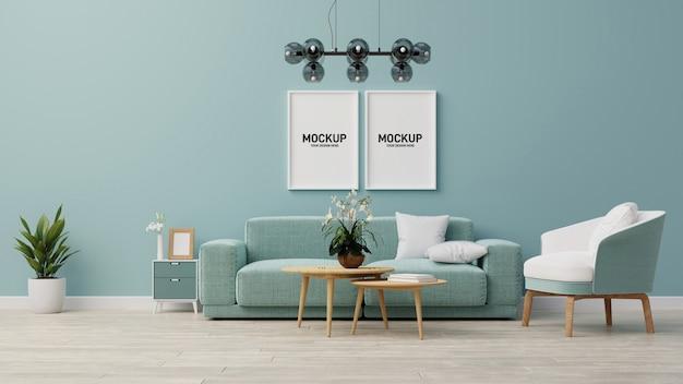 Simulado interior sala de estar. renderização em 3d. Psd Premium