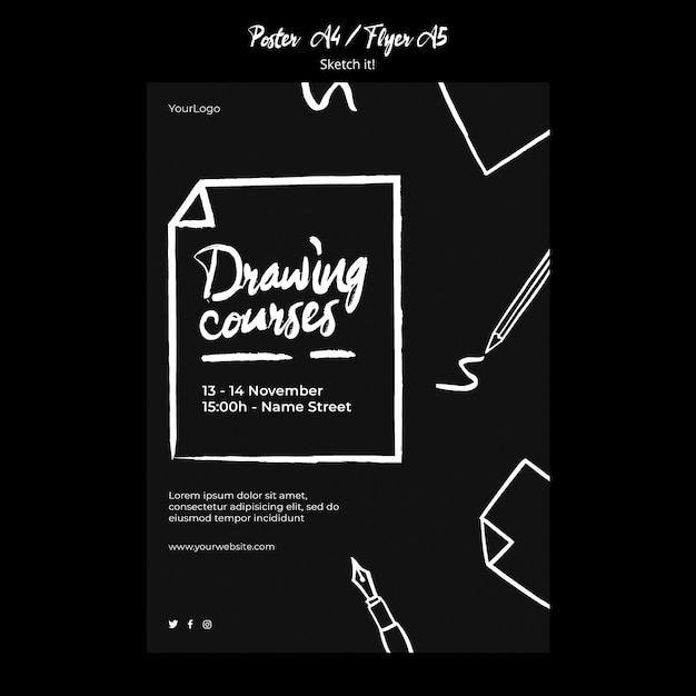 Sketch concept flyer template Psd grátis