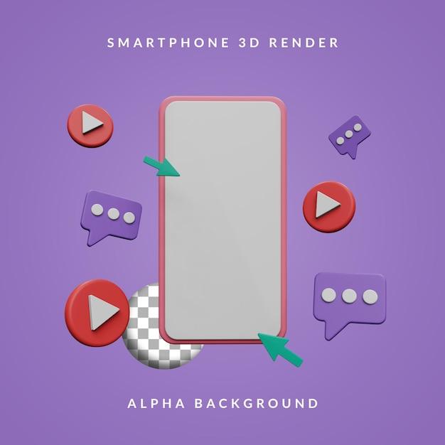 Smartphone 3d com conjunto mínimo de ícones Psd Premium
