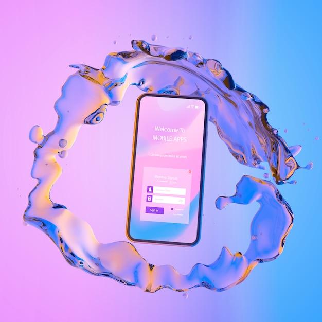 Smartphone com a página de login e fundo líquido colorido Psd grátis