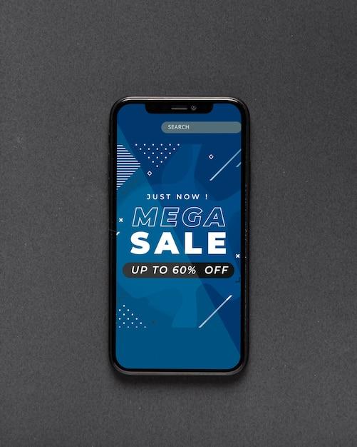 Smartphone com site aberto para vendas Psd grátis