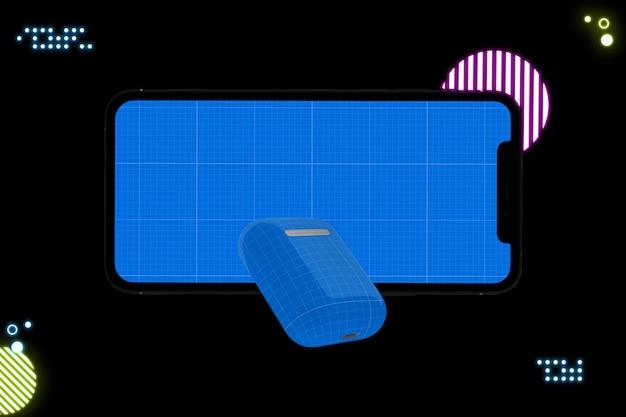 Smartphone com tela de maquete e fones de ouvido Psd Premium