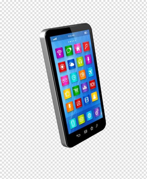 Smartphone touchscreen hd - interface de ícones de aplicativos Psd Premium