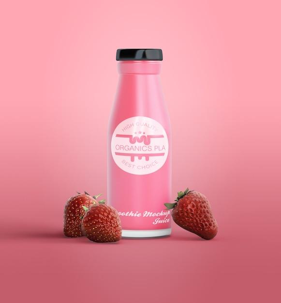 Smoothie de rosa em maquete de garrafa Psd grátis