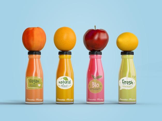 Smoothies de alimentação saudável para o conceito de desintoxicação com frutas Psd grátis